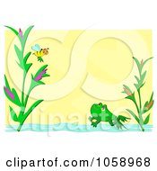 Yellow Frame With Pond Plants And A Frog