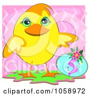 Chick By An Easter Egg Over Pink