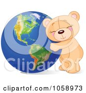 Royalty Free Vector Clip Art Illustration Of A Teddy Bear Hugging Earth