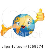 Royalty Free Vector Clip Art Illustration Of A Happy Earth Holding A Thumb Up by Pushkin