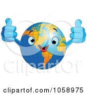 Happy Earth Holding Two Thumbs Up
