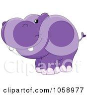 Royalty Free Vector Clip Art Illustration Of A Chubby Happy Hippo by yayayoyo