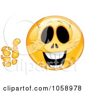 Royalty Free Vector Clip Art Illustration Of An Emoticon Face With Stitches Holding A Thumb Up by yayayoyo