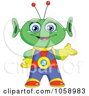 Royalty Free Vector Clip Art Illustration Of A Friendly Green Alien Presenting by yayayoyo