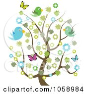 Royalty Free Vector Clip Art Illustration Of A Spring Tree With Blossoms Butterflies And Birds