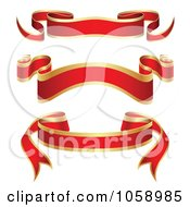 Royalty Free Vector Clip Art Illustration Of A Digital Collage Of Ornate Blank Red And Gold Ribbon Banners by vectorace