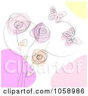 Royalty Free Vector Clip Art Illustration Of A Scribble Design Of Butterflies And Flowers