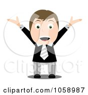 Royalty Free Vector Clip Art Illustration Of A Happy Businessman Holding His Arms Up
