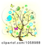 Royalty Free Vector Clip Art Illustration Of A Spring Tree With Flowers Butterflies And Birds
