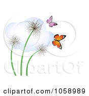 Three Dandelions With Butterflies And A Cloud