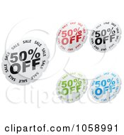 Royalty Free Vector Clip Art Illustration Of A Digital Collage Of Half Off Stickers