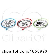 Royalty Free Vector Clip Art Illustration Of A Digital Collage Of Guarantee Natural And Approved Chat Bubbles by Andrei Marincas