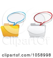 Royalty Free Vector Clip Art Illustration Of A Digital Collage Of Message Bubbles Over Folders