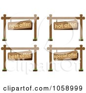 Royalty Free Vector Clip Art Illustration Of A Digital Collage Of Retail Offer Wooden Signs