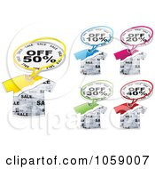 Royalty Free Vector Clip Art Illustration Of A Digital Collage Of Discount Message Balloons With T Shirts by Andrei Marincas