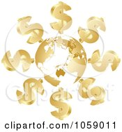 Royalty Free Vector Clip Art Illustration Of 3d Golden Dollar Symbols Circling A Globe by Andrei Marincas