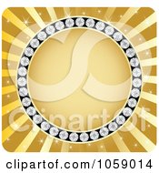 Royalty Free Vector Clip Art Illustration Of A Circle Frame Of Diamonds On Gold Rays