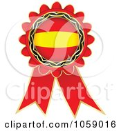 Royalty Free Vector Clip Art Illustration Of A Red Spain Flag Ribbon Label by Andrei Marincas