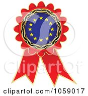 Royalty Free Vector Clip Art Illustration Of A Red European Flag Ribbon Label by Andrei Marincas