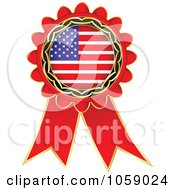 Royalty Free Vector Clip Art Illustration Of A Red American Flag Ribbon Label by Andrei Marincas