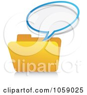 Royalty Free Vector Clip Art Illustration Of A Message Bubble Over A Yellow Folder