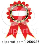 Royalty Free Vector Clip Art Illustration Of A Red Austria Flag Ribbon Label by Andrei Marincas