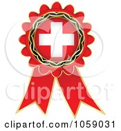 Royalty Free Vector Clip Art Illustration Of A Red Swiss Flag Ribbon Label by Andrei Marincas