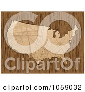 Royalty Free Vector Clip Art Illustration Of A Scratched American Map On Wood Grain