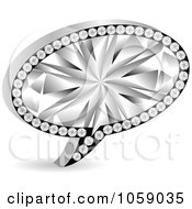 Royalty Free Vector Clip Art Illustration Of A 3d Silver And Diamond Chat Bubble
