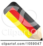 Royalty Free Vector Clip Art Illustration Of A 3d German Flag Pencil Drawing A Line by Andrei Marincas