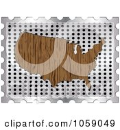 Royalty Free Vector Clip Art Illustration Of A Wood Grain American Map On A Silver Grate