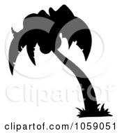 Royalty Free Vector Clip Art Illustration Of A Black Silhouetted Palm Tree Logo by Hit Toon