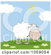 Royalty Free Vector Clip Art Illustration Of A Grazing Sheep On A Hill