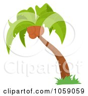 Royalty Free Vector Clip Art Illustration Of A Palm Tree Logo 3 by Hit Toon