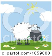 Royalty Free Vector Clip Art Illustration Of A Grazing Black Sheep On A Hill