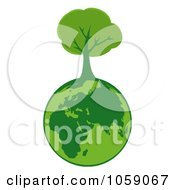 Royalty Free Vector Clip Art Illustration Of An Organic Tree Globe Logo 1 by Hit Toon