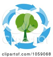 Royalty Free Vector Clip Art Illustration Of Blue Arrows Circling A Tree by Hit Toon
