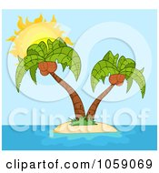 Royalty Free Vector Clip Art Illustration Of Double Palm Trees On A Tropical Island Over Blue by Hit Toon