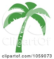 Royalty Free Vector Clip Art Illustration Of A Palm Tree Silhouette In Green by Hit Toon #COLLC1059073-0037