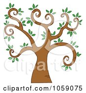 Royalty Free Vector Clip Art Illustration Of A Curly Branched Tree Logo 5 by Hit Toon