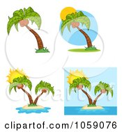 Royalty Free Vector Clip Art Illustration Of A Digital Collage Of Palm Trees by Hit Toon
