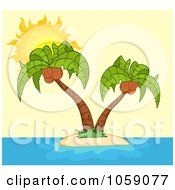 Royalty Free Vector Clip Art Illustration Of Double Palm Trees On A Tropical Island Over Yellow by Hit Toon