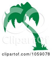 Royalty Free Vector Clip Art Illustration Of A Green Silhouetted Palm Tree Logo by Hit Toon