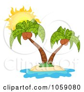 Royalty Free Vector Clip Art Illustration Of A Double Palm Tree Logo by Hit Toon