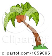 Royalty Free Vector Clip Art Illustration Of A Palm Tree Logo 1 by Hit Toon