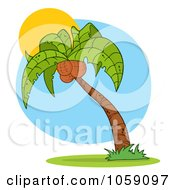 Royalty Free Vector Clip Art Illustration Of A Palm Tree Logo 2 by Hit Toon