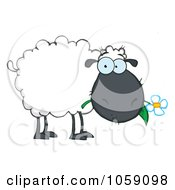 Royalty Free Vector Clip Art Illustration Of A Grazing Black Sheep