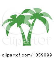 Royalty Free Vector Clip Art Illustration Of A Double Palm Tree Silhouette In Green