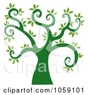 Royalty Free Vector Clip Art Illustration Of A Curly Branched Tree Logo 1 by Hit Toon