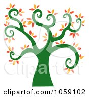Royalty Free Vector Clip Art Illustration Of A Curly Branched Tree Logo 6 by Hit Toon